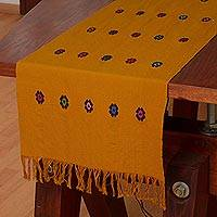 Cotton table runner, 'Festive' - Mustard-Colored Cotton Table Runner with Multicolor Flowers