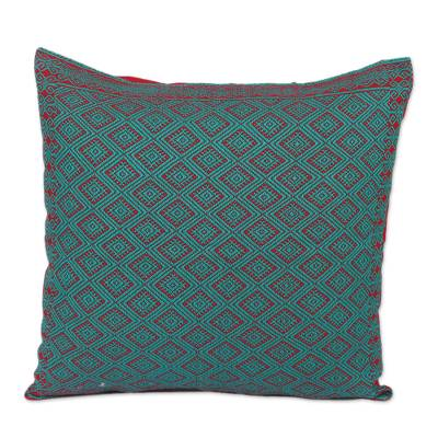 Cotton Cushion Cover in Strawberry and Turquoise from Mexico