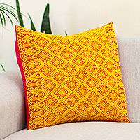 Cotton cushion cover, 'Daffodil Maze' - Cotton Cushion Cover in Daffodil and Cerise from Mexico