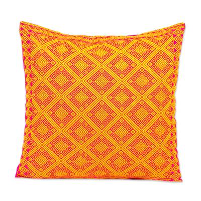 Cotton Cushion Cover in Daffodil and Cerise from Mexico
