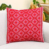 Cotton cushion cover, 'Crimson Maze' - Cotton Cushion Cover in Crimson and Cream from Mexico
