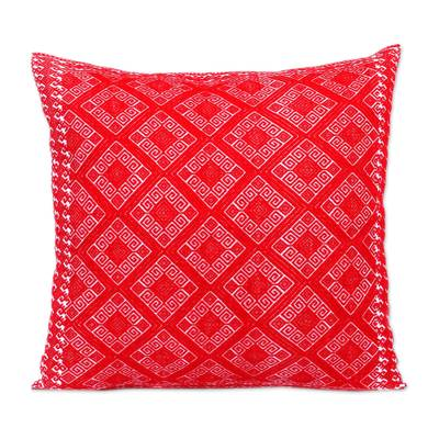Cotton Cushion Cover in Crimson and Cream from Mexico