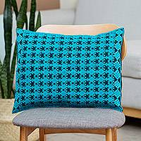 Cotton cushion cover, 'Celestial Kaleidoscope' - Cotton Cushion Cover in Cerulean and Midnight from Mexico
