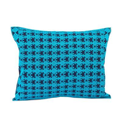Cotton Cushion Cover in Cerulean and Midnight from Mexico