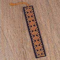 Cotton bookmark, 'Scrolling Diamonds in Mustard' - Hand Crafted Navy and Gold Embroidered Cotton Bookmark