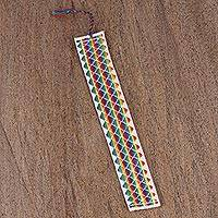 Cotton bookmark, 'Rainbow Diamonds' - Hand Crafted Multi-Color Embroidered Cotton Bookmark