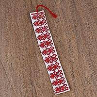 Cotton bookmark, 'Red Dancers' - Hand Crafted Red on White Embroidered Cotton Bookmark