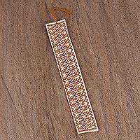 Cotton bookmark, 'Color Waves' - Hand Crafted Multi-Color Embroidered Cotton Bookmark