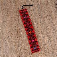 Cotton bookmark, 'Graphic Pinecone in Black' - Hand Crafted Red and Black Embroidered Cotton Bookmark