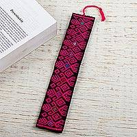Cotton bookmark, 'Pink Dancers' - Hand Crafted Pink on Black Embroidered Cotton Bookmark