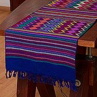 Cotton table runner, 'Pattern Palooza in Blue' - Multi-Color Multi-Patterned Handwoven Cotton Table Runner
