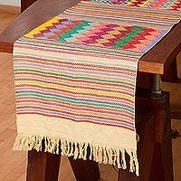 Cotton table runner, 'Pattern Palooza in Yellow' - Multi-Color Multi-Patterned Cotton Table Runner