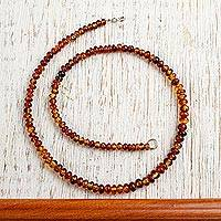 Amber beaded necklace, 'Honey Dew' - Natural Mexican Amber Beaded Strand Long Necklace