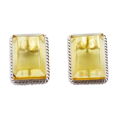 Rectangular Amber Framed in Sterling Silver Drop Earrings