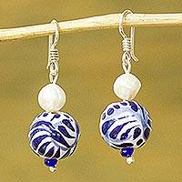 Cultured pearl and ceramic bead dangle earrings, 'Indigo Bloom' - Cultured Pearl and Ceramic Puebla-Style Bead Dangle Earrings