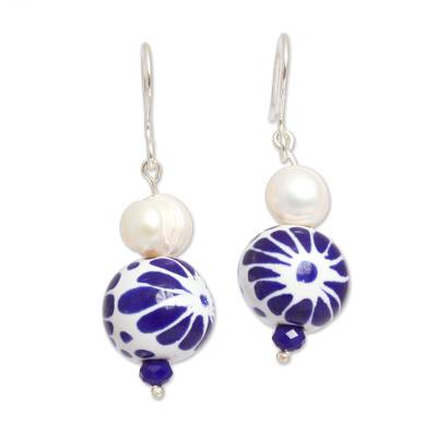 Cultured Pearl and Ceramic Puebla-Style Bead Dangle Earrings