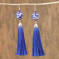 Ceramic bead dangle earrings, 'Carefree' - Ceramic Puebla-Style Bead and Blue Tassel Dangle Earrings