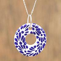 Ceramic pendant necklace, 'Welcoming' - Ceramic Puebla-Style Blue Floral Circle Pendant Necklace