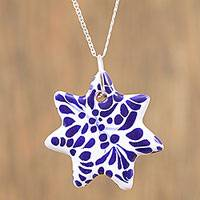 Ceramic pendant necklace, 'Garden Star' - Ceramic Puebla-Style Blue Floral Star Pendant Necklace