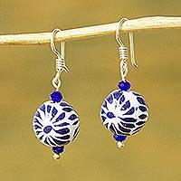 Ceramic bead dangle earrings, 'Peeking Flower' - Ceramic Puebla-Style Bead Blue Floral Dangle Earrings