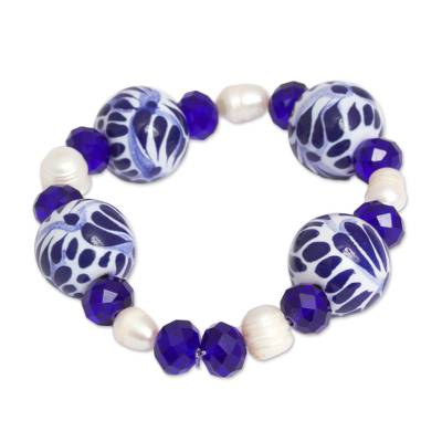 Cultured Pearl and Ceramic Puebla Bead Stretch Bracelet