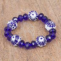 Ceramic beaded stretch bracelet, 'Twilight Bloom' - Ceramic Puebla Bead and Blue Crystal Bead Stretch Bracelet