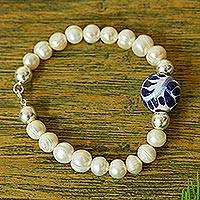 Cultured pearl and ceramic beaded bracelet, 'Enticing' - Cultured Pearl and Puebla and Silver Bead Bracelet