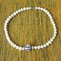 Cultured pearl and ceramic bead necklace, 'Enticing' - Cultured Pearl and Ceramic Puebla Bead Necklace