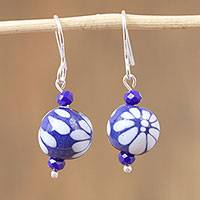 Ceramic beaded dangle earrings, 'Twilight Flower' - Ceramic Puebla-Style Bead Blue Floral Dangle Earrings
