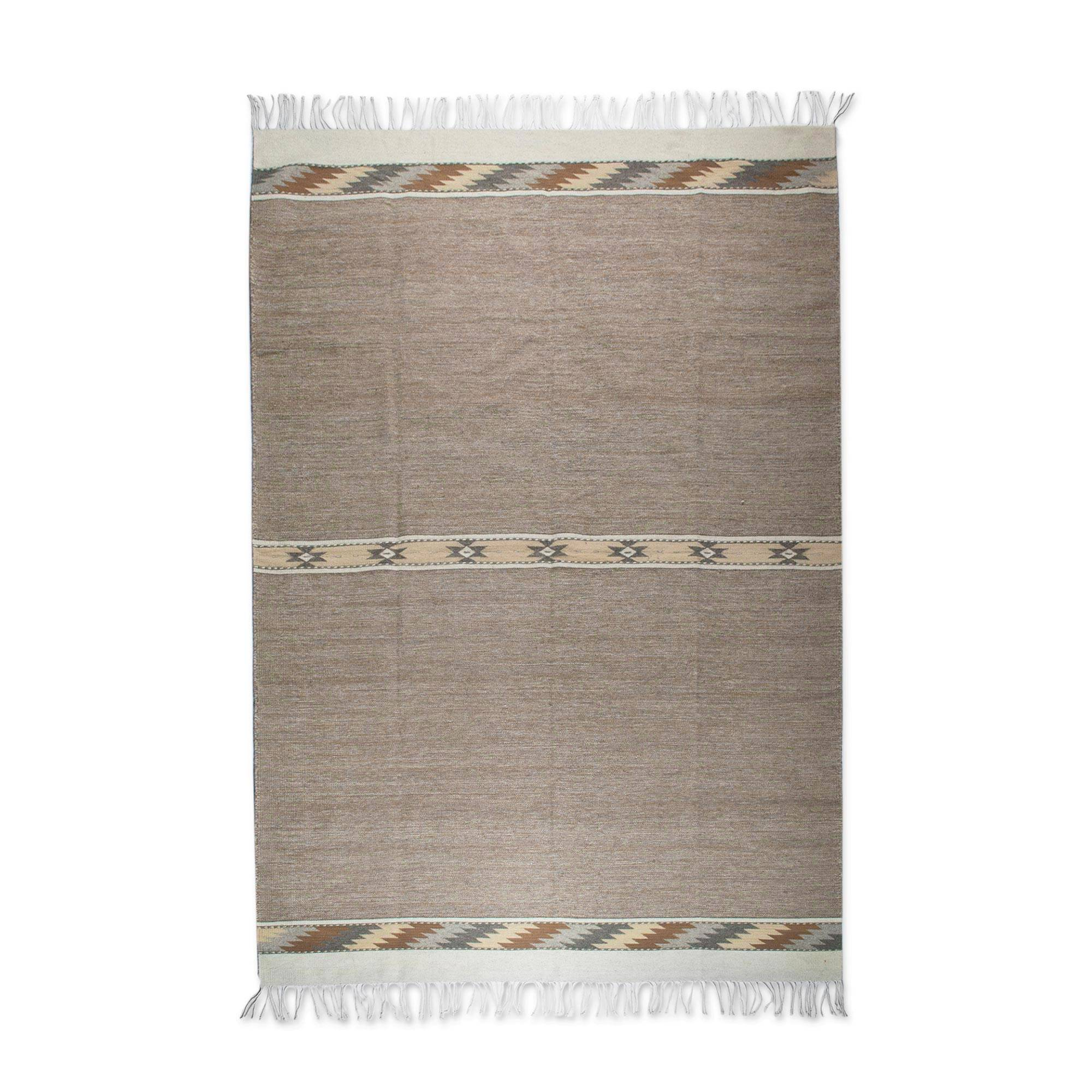 Handwoven Wool Area Rug In Ochre 6 5x10 From Mexico Land And