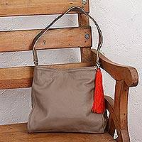 Leather shoulder bag, 'Cityslicker' - Taupe Leather Shoulder Bag with Interior Pockets