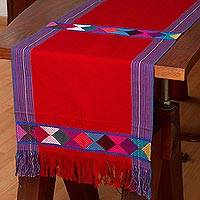 Cotton table runner, 'Cheer in Red' - 100% Cotton Red Table Runner with Colorful Geometric Bands