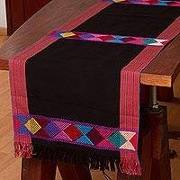 Cotton table runner, 'Cheer in Black' - 100% Cotton Black Table Runner with Colorful Geometric Bands