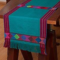 Cotton table runner, 'Cheer in Turquoise' - 100% Cotton Turquoise Table Runner, Colorful Geometric Bands