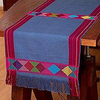 Cotton table runner, 'Cheer in Blue' - 100% Cotton Blue Table Runner with Colorful Geometric Bands