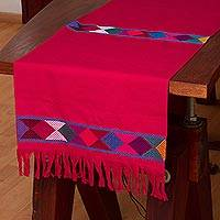 Cotton table runner, 'Merriment in Cerise' - 100% Cotton Cerise Table Runner, Colorful Geometric Bands