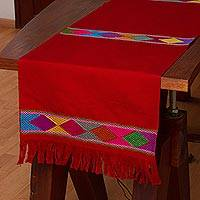 Cotton table runner, 'Merriment in Red' - 100% Cotton Red Table Runner with Colorful Geometric Bands