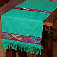 Cotton table runner, 'Merriment in Green' - 100% Cotton Green Table Runner with Colorful Geometric Bands
