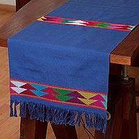 Cotton table runner, 'Merriment in Blue' - 100% Cotton Blue Table Runner with Colorful Geometric Bands