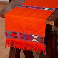 Cotton table runner, 'Merriment in Orange' - 100% Cotton Orange Table Runner, Colorful Geometric Bands