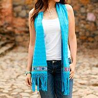 Cotton scarf, 'Viva la Vida in Blue' - 100% Cotton Hand Woven Blue Scarf with Colorful Border