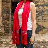 Cotton scarf, 'Vivacious in Red' - 100% Cotton Hand Woven Ruby Red Scarf with Colorful Border