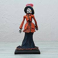 Papier mache statuette, 'Catrina in Orange' - Day of the Dead Catrina Skeleton Papier Mache Statuette