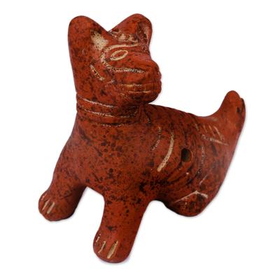 Terracotta Aztec Dog Ceramic Ocarina Whistle from Mexico
