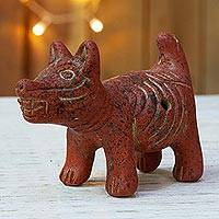 Ceramic ocarina, 'Laughing Dog' - Handcrafted Ceramic Dog Theme Mexican Ocarina Flute