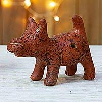 Ceramic ocarina, 'Dog Eating Corn' - Pre-Hispanic Archaeology Replica Flute of a Mexican Dog