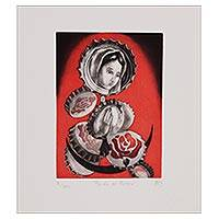 'Beyond the Mystery' - Signed Surrealist Print of Mother Mary from Mexico