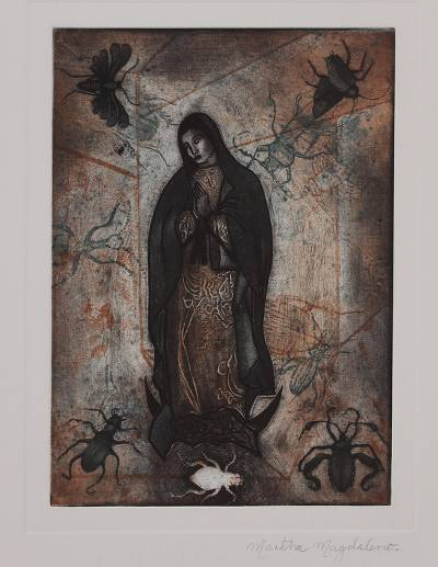 Untitled (The Virgin) - Signed Religious Print Depicting Mary from Mexico