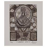 'Zapopan Saint' - Signed Black and White Modern Print of Mary from Mexico