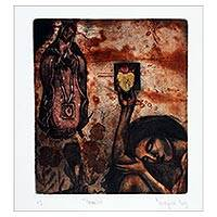 'Offering' - Signed Religious Modern Print of Mary from Mexico